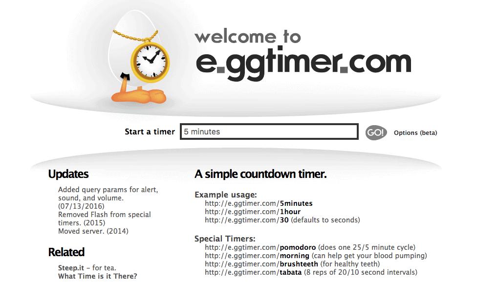 E.ggtimer è un semplice conto alla rovescia per aiutarti a completare le tue attività.