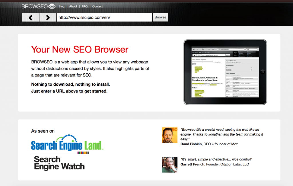 Browsea is an invaluable SEO tool which shows your site the way search spiders see it.