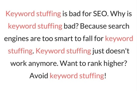 Keyword Stuffing Example - On Page SEO Techniques Google Hates