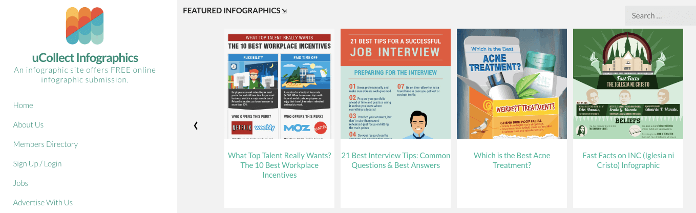 Infographic Submission Sites: uCollect Infographics is a site that showcases some of the best infographics or data visualizations around the globe.
