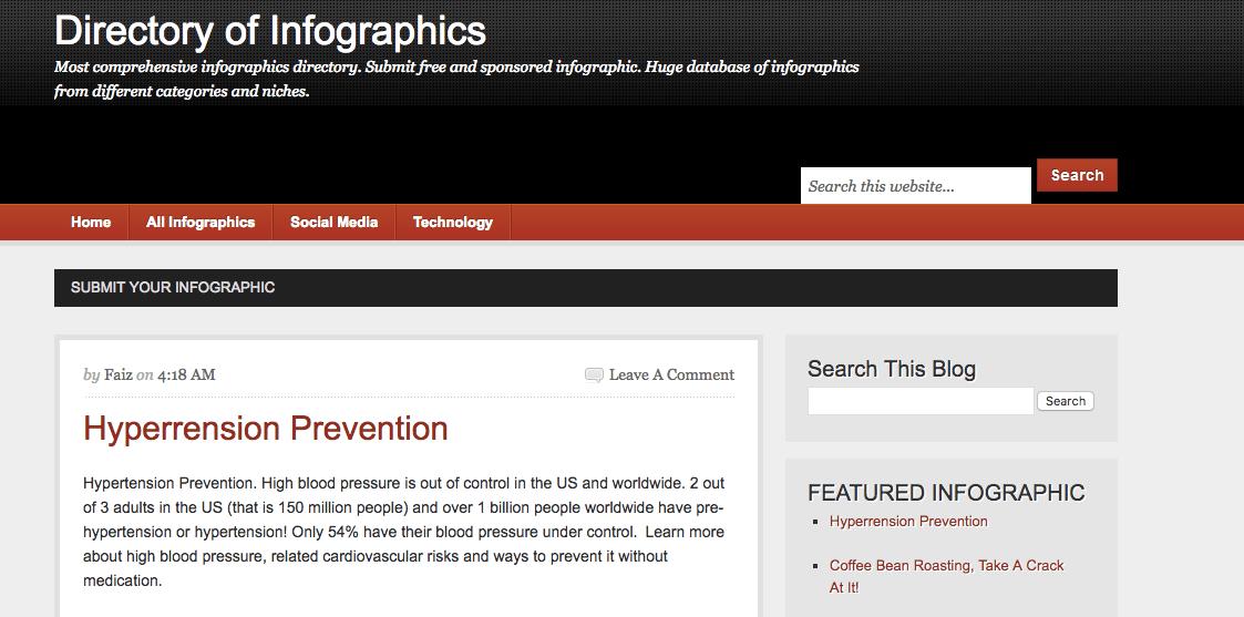 Siti di presentazione di infografiche: la directory delle infografiche, come suggerisce il nome, ha un enorme database di infografiche di diverse categorie e nicchie.