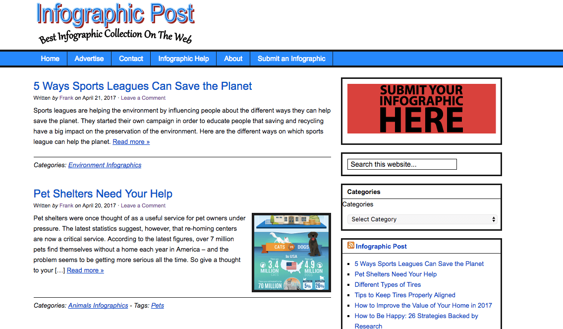 Siti di presentazione di infografiche: Infographic Post è un luogo per trovare le infografiche più interessanti e informative sul web