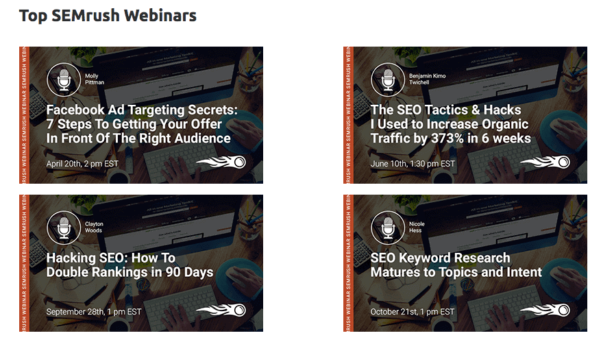 SEMrush Review - SEMrush also organizes webinars on a regular basis where they unveil new features and provide some actionable tips to improve your SEO and PPC.