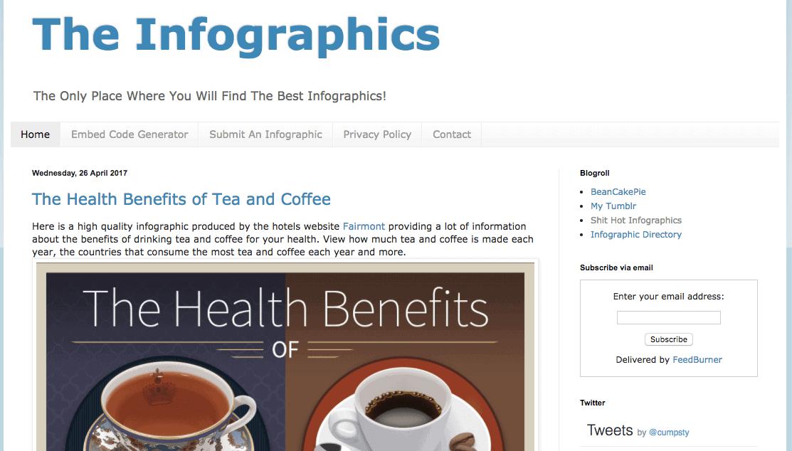 Siti di presentazione di infografiche - Iniziato da Tom Cumpsty, The Infographics contiene alcune infografiche davvero interessanti.