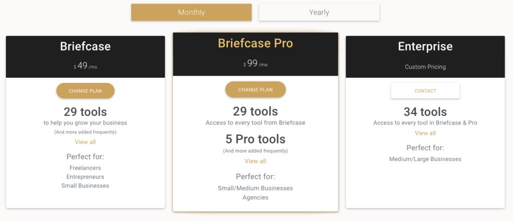 Briefcase Monthly Pricing Plans