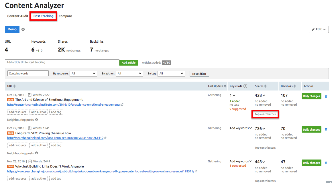 Content Analyzer - Post Tracking