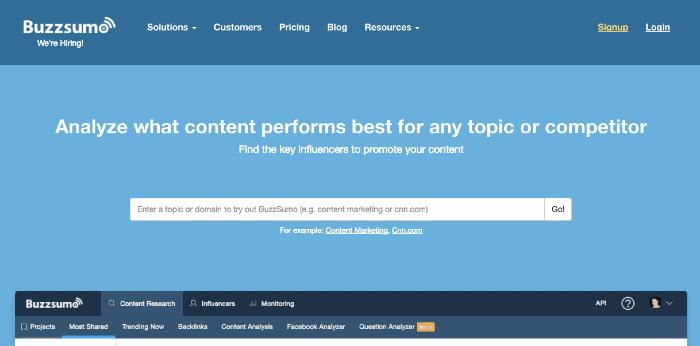 Strumento di marketing dei contenuti Buzzsumo