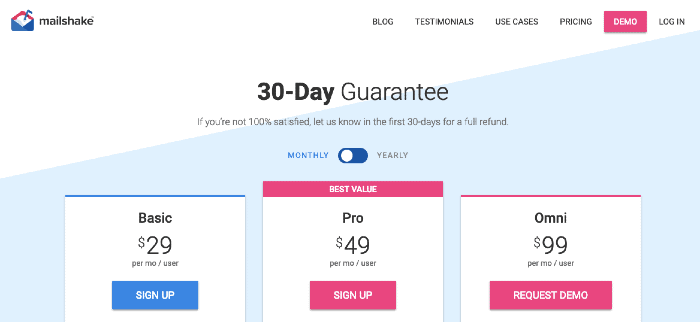 Mailshake Pricing Plans