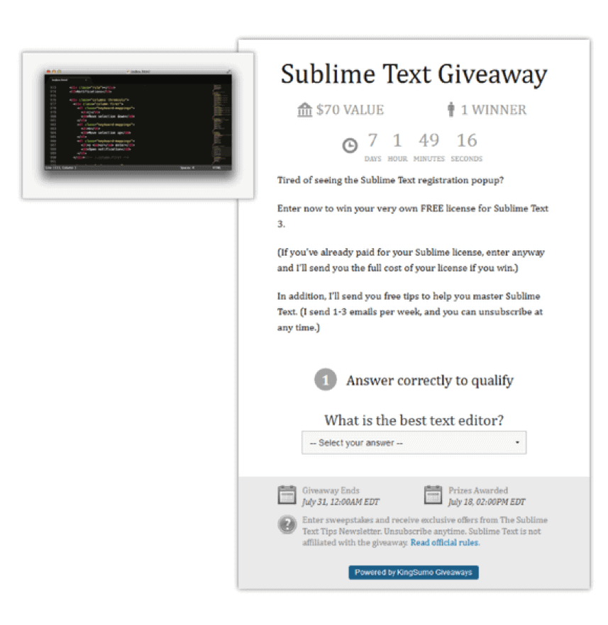 Giveaway Contest Example: Sublime Text