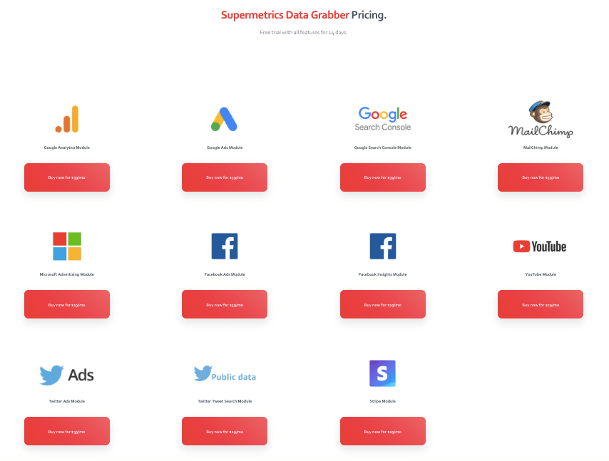 Supermetrics Data Grabber Pricing