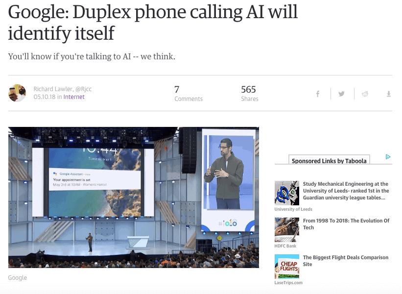 Google Duplex - SEMrush Content Template