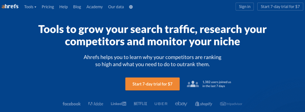 Ahrefs 2018: The backlink audit carried out by Ahrefs is simply gold standard. The tool conjures up the most accurate backlink data one can obtain and the team behind Ahrefs is working hard to ensure that we get the most accurate backlink data we are looking for.