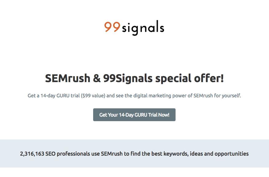 99signals SEMrush Promo 2018