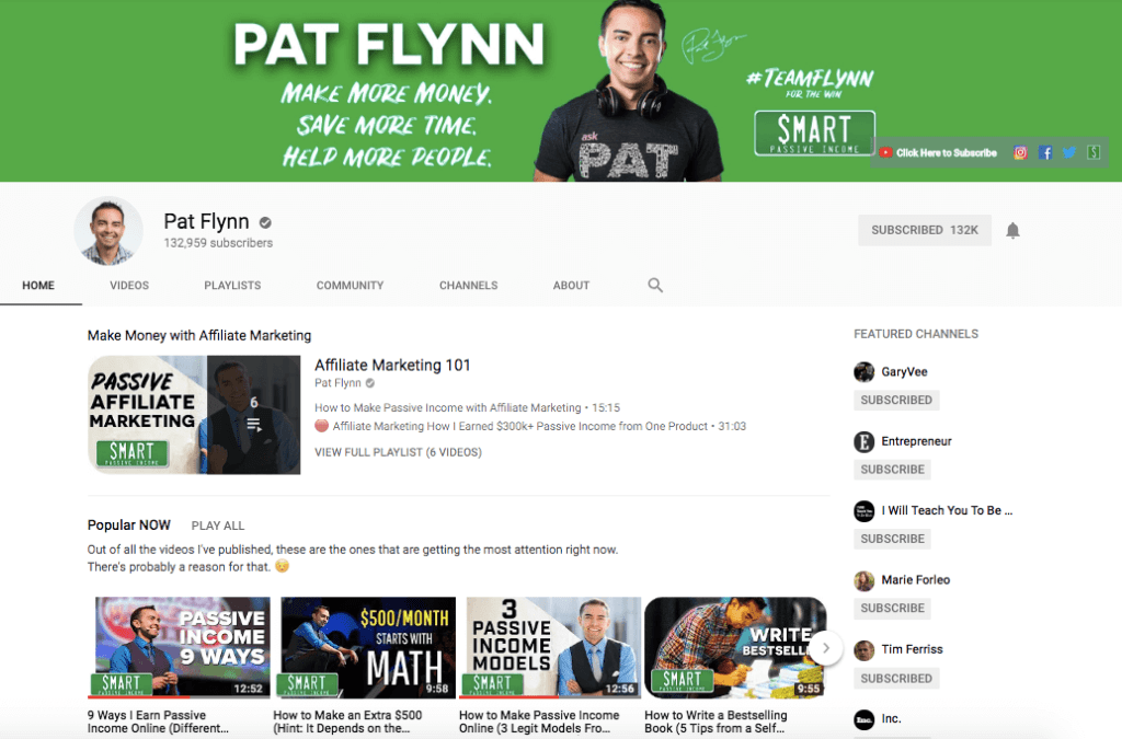 Pat Flynn's Channel on YouTube