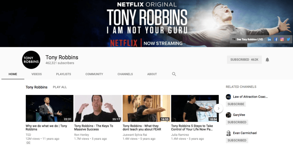 Tony Robbins - YouTube Channel