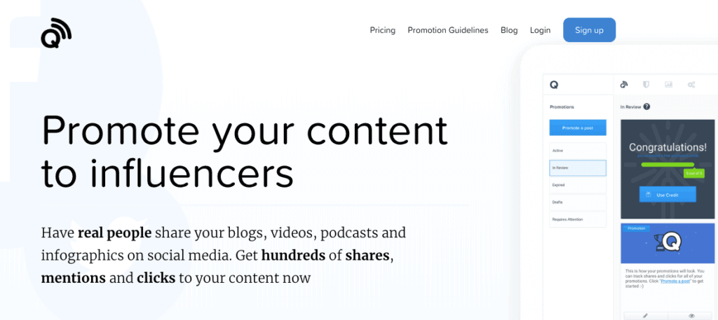 Quuu Promote - Quuu Promote is an influencer marketing tool by Quuu.co, a content curation platform.