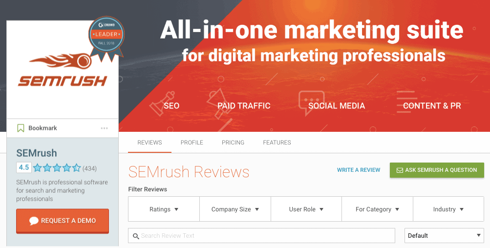 SEMrush Reviews - G2Crowd