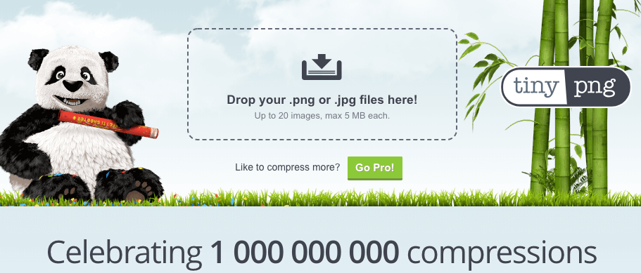 TinyPNG is a free tool which uses smart lossy compression techniques to reduce the file size of your PNG or JPG files.