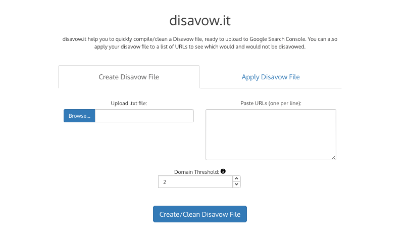 disavow.it helps you to quickly compile/clean a Disavow file, ready to upload to Google Search Console.
