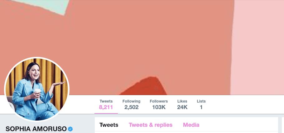 Sophia Amoruso on Twitter