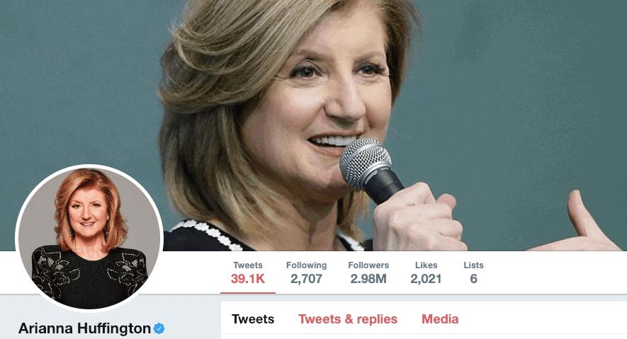 Arianna Huffington on Twitter