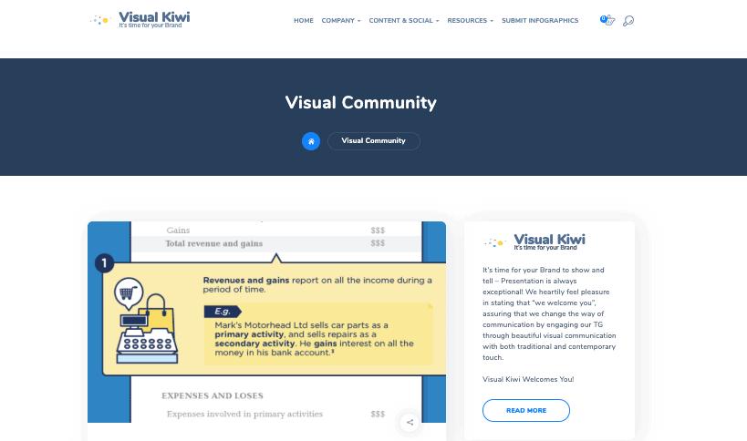 Visual Kiwi - Sito di presentazione infografica