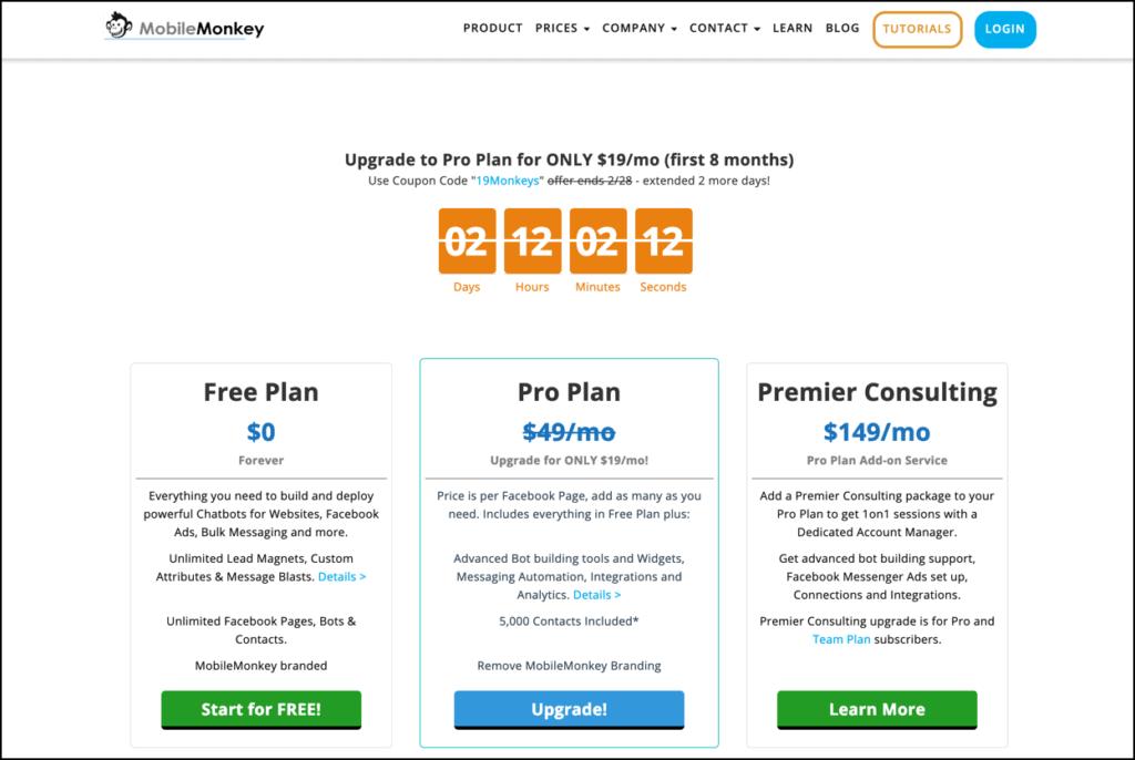 MobileMonkey Pricing