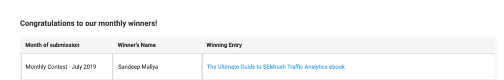 Winning the July 2019 SEMrush Affiliate Program Contest