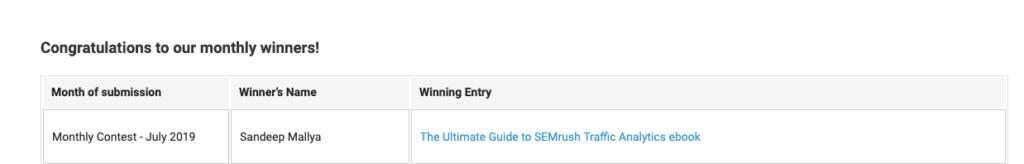 Winning the July 2019 SEMrush Affiliate Program Contest