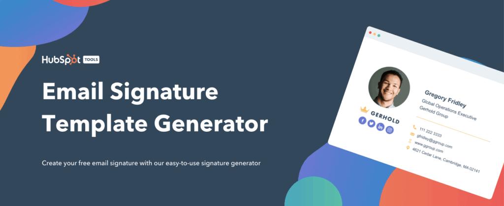 Generatore di firma e-mail di HubSpot