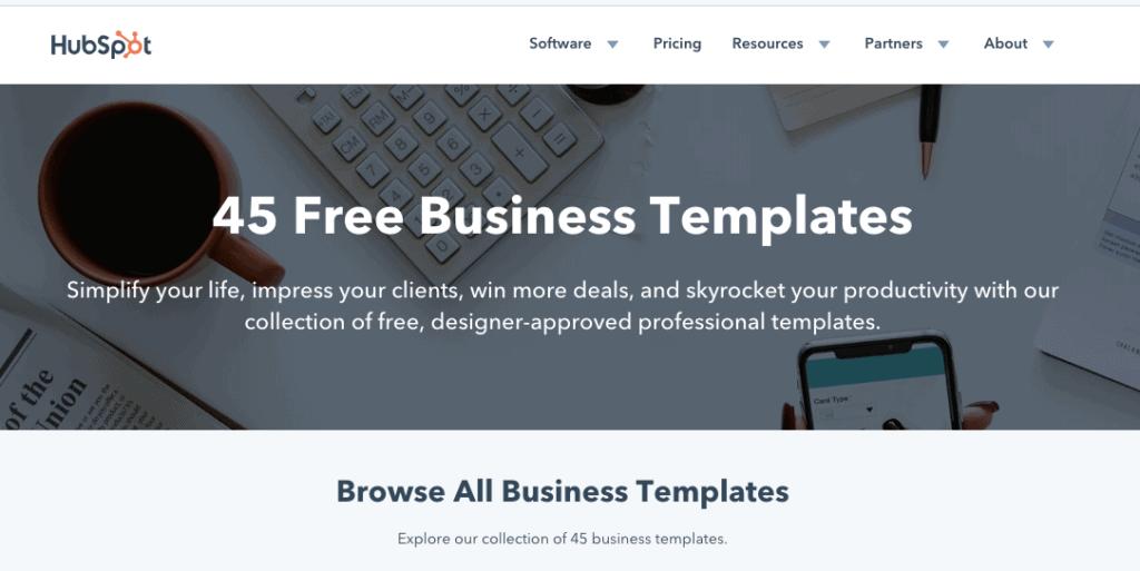 Modelli aziendali gratuiti di HubSpot