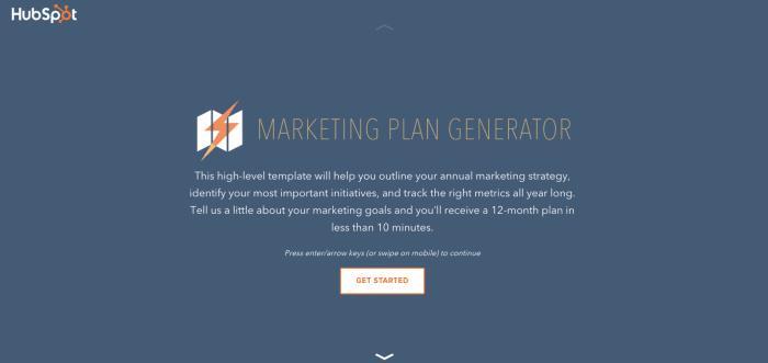 Marketing Plan Template Generator by HubSpot