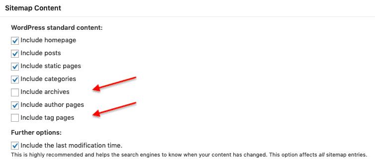 XML Sitemap Settings