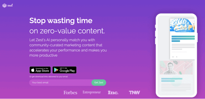 Zest - Piattaforma di condivisione dei contenuti