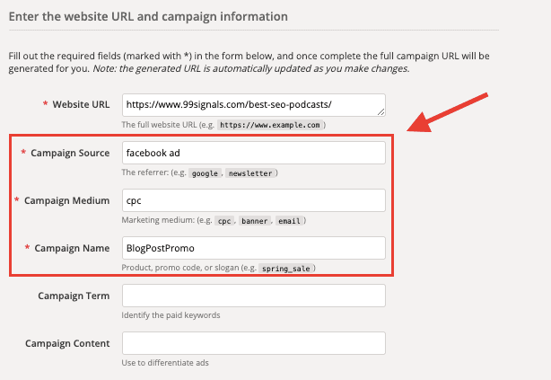 Campaign URL Builder - FB Ads