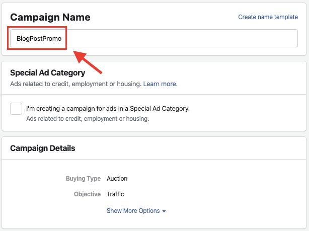 Annunci FB - Nome campagna