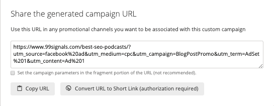 URL Campaign Builder - Generated URL