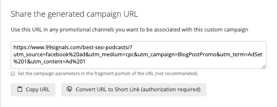 URL Campaign Builder - URL generato