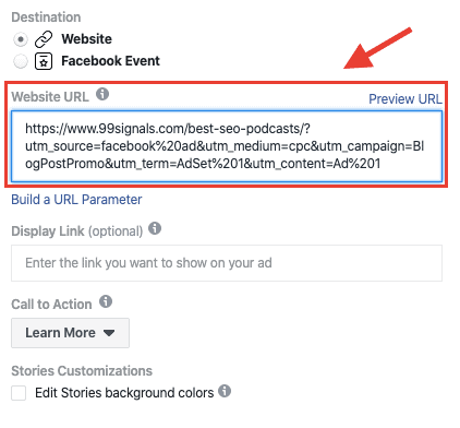 URL Parameters - FB Ads