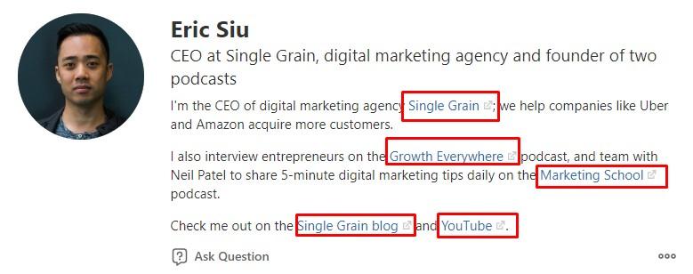 Eric Siu Quora Profile