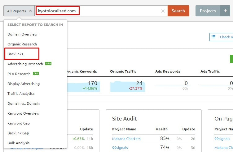 SEMrush Backlink Analytics - Kyoto Localized