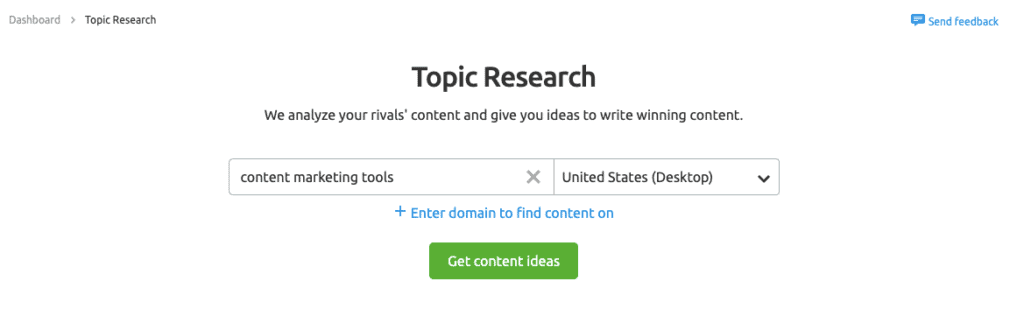 SEMrush Topic Research - Strumenti di marketing dei contenuti
