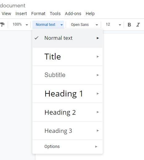 Google Docs - Headings