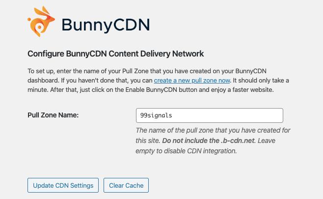 BunnyCDN WordPress Settings