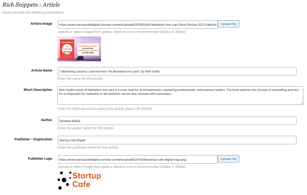 Rich Snippet WordPress Plugin - Settings