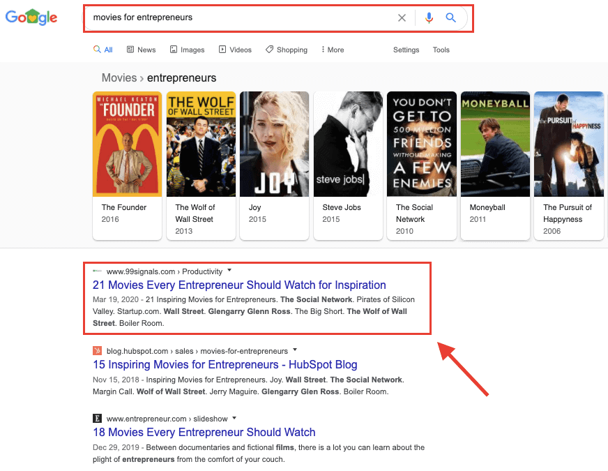 SERP di Google - Posizione n. 1