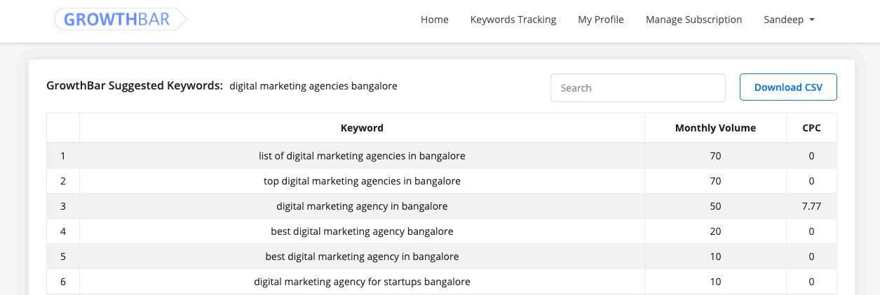 Keyword Suggestions - GrowthBar
