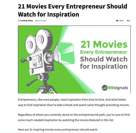 21 Best Movies for Entrepreneurs - Content Optimization