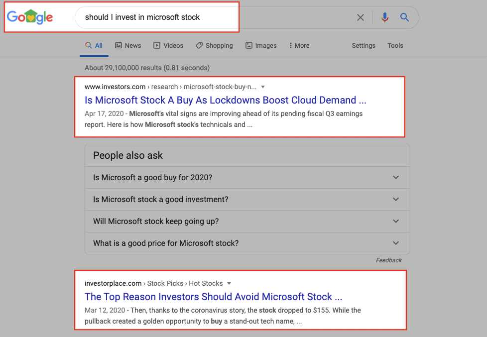 Google SERPs - Microsoft Stock (Informational Search Intent Example)