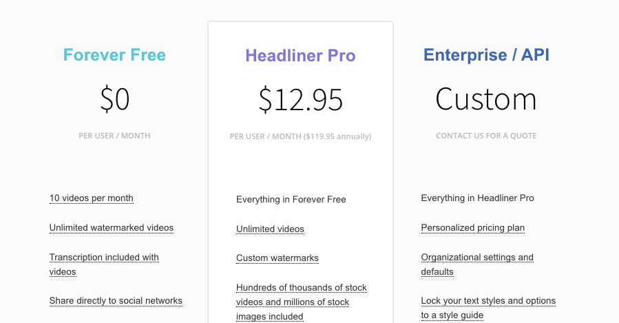 Headliner Pricing